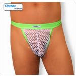 Mens G String - Exotic Green - White Mesh